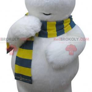 Maskotka niedźwiedź polarny z żółto-niebieskim szalikiem -