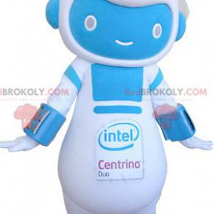 Blauw en wit robot sneeuwpop mascotte - Redbrokoly.com