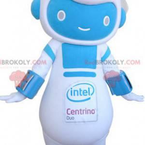 Mascotte del pupazzo di neve robot blu e bianco - Redbrokoly.com