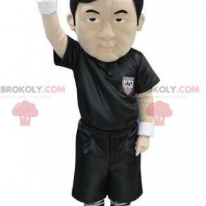 Asian referee mascot dressed in black - Redbrokoly.com