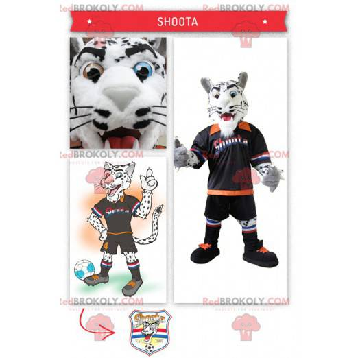 Mascot white and black tiger with his footballer suit -