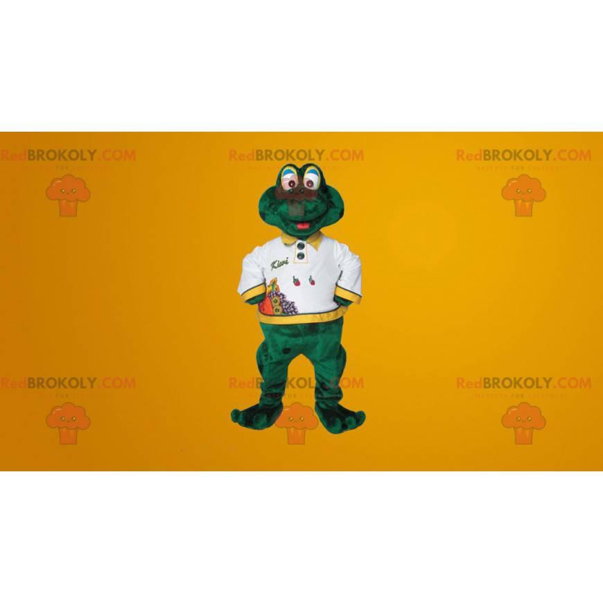 Roztomilý usměvavý zelený žabák maskot - Redbrokoly.com