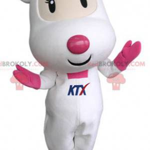 Roztomilý a dojemný bílý a růžový maskot myši - Redbrokoly.com