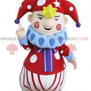 Mostra la mascotte del pagliaccio del carattere del circo -