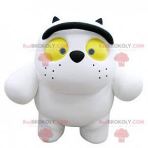 Stor hvit kattemaskott med gule øyne - Redbrokoly.com