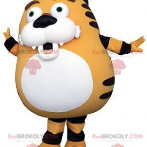 Baculatý a roztomilý oranžový bílý a černý tygr maskot -