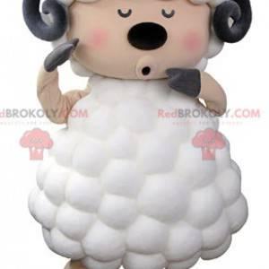 Mascote ovelha cabra branco preto e rosa - Redbrokoly.com