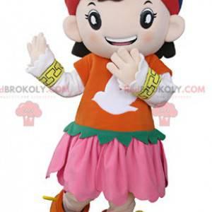 Maskot dívka oblečená v barevné orientální oblečení -