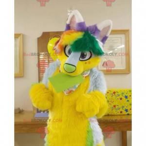 Žlutá zelená a fialová chlupatá kočka maskot - Redbrokoly.com