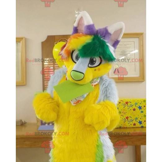 Yellow green and purple hairy cat mascot - Redbrokoly.com