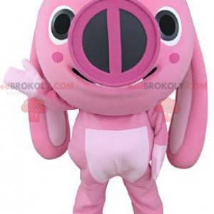 Rosa Tierschweinmaskottchen mit großen Ohren - Redbrokoly.com