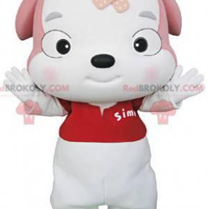 Maskot štěně bílé a růžové psa - Redbrokoly.com
