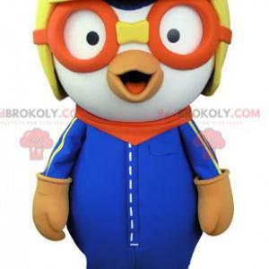 Fuglemaskott med pilothjelm og beskyttelsesbriller -