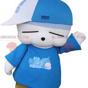 Velmi zábavný maskot bílého králíka v hip-hopovém oblečení -