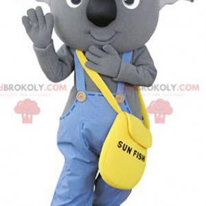 Mascote coala cinza vestido de macacão - Redbrokoly.com