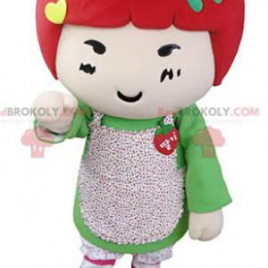 Maskot dívka s červenými vlasy. Jahodový maskot - Redbrokoly.com