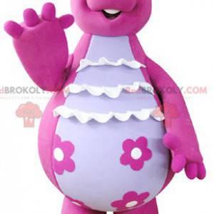 Nettes und lustiges rosa und weißes Dinosauriermaskottchen -