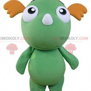 Grünes und orange Drachenmaskottchen. Grünes Maskottchen -
