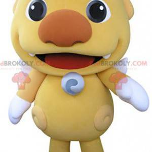 Mascot little yellow monster with white wings - Redbrokoly.com