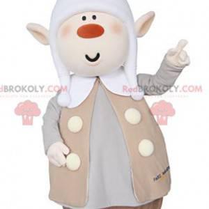 Plump Pixie Maskottchen mit spitzen Ohren und einer Kappe -