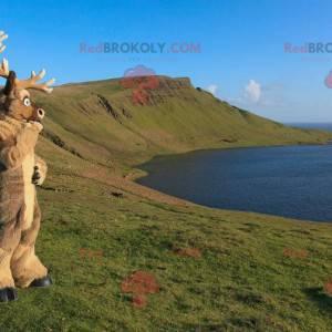 Brązowa maskotka renifer karibu - Redbrokoly.com