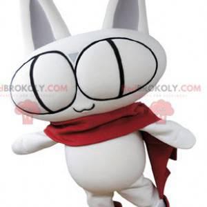 Celý maskot bílé kočky s velkýma očima - Redbrokoly.com