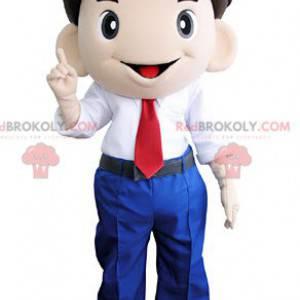 Lächelndes Mannmaskottchen in Anzug und Krawatte -