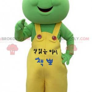Grünes Froschmaskottchen mit gelbem Overall - Redbrokoly.com