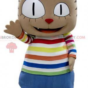 Brun kattemaskot med stort hode i fargerikt antrekk -
