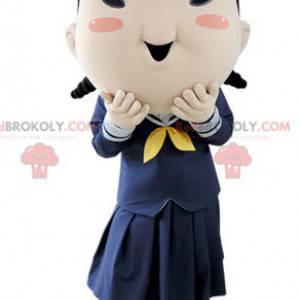 Brown girl schoolgirl mascot in uniform - Redbrokoly.com