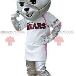 Graues Bärenmaskottchen gekleidet im Baseball-Outfit -