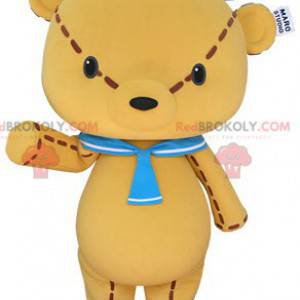 Giant yellow teddy bear mascot with a sailor hat -
