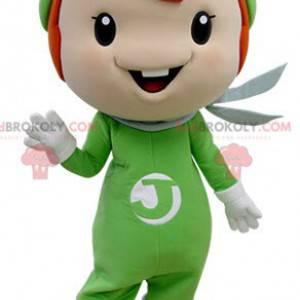 Zrzavý chlapec maskot oblečený v zelené barvě - Redbrokoly.com