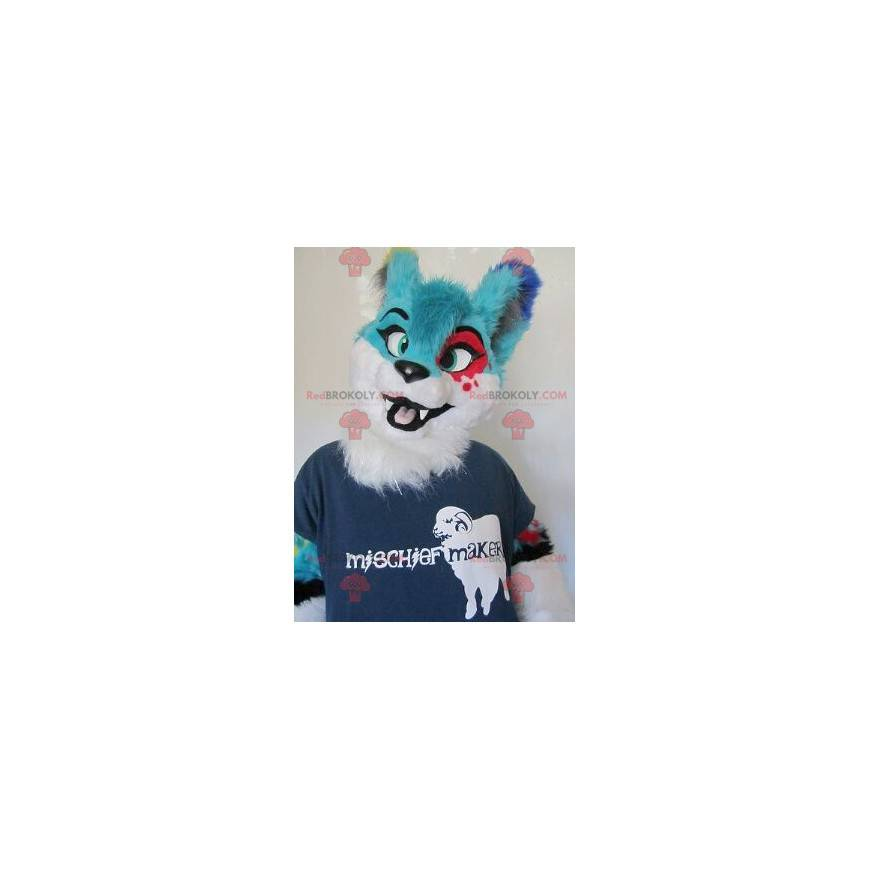 Blue red and white hairy cat mascot - Redbrokoly.com