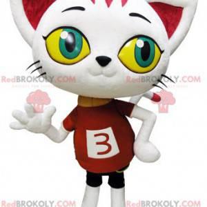 Maskot obří bílé kočky s velkýma očima - Redbrokoly.com