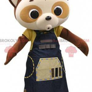 Hnědý a béžový maskot panda s modrými šaty - Redbrokoly.com