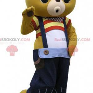 Gelbes Teddybär-Maskottchen mit blauem Overall - Redbrokoly.com