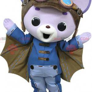 Lila Katzenmaskottchen mit Fledermausflügeln - Redbrokoly.com