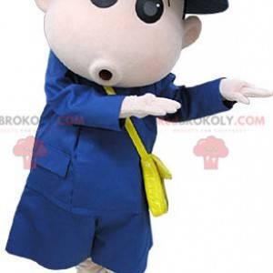Courier pošťák maskot oblečený v modré barvě - Redbrokoly.com
