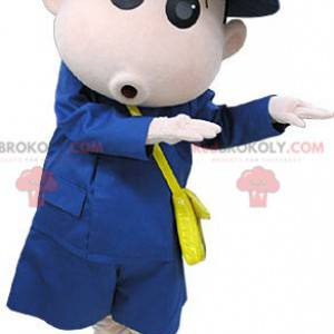 Courier postman mascot dressed in blue - Redbrokoly.com