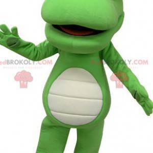 Riesiges grünes und weißes Krokodilmaskottchen - Redbrokoly.com