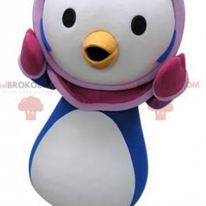 Modrý a bílý maskot tučňáka s růžovou kuklou - Redbrokoly.com