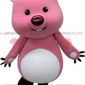 Maskot růžový a bílý bobr. Vydra maskot - Redbrokoly.com