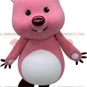 Maskottchen rosa und weißer Biber. Otter Maskottchen -