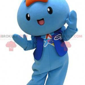 Mascotte blu del pupazzo di neve con una stella sulla sua testa