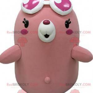 Pralles und lustiges rosa und weißes Maulwurfsbärenmaskottchen