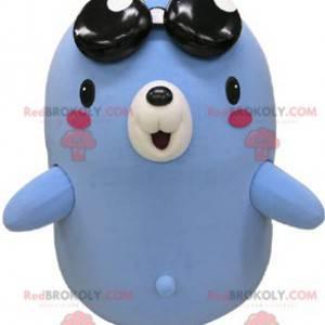 Blaues und weißes Maulwurfsbärenmaskottchen mit Brille -