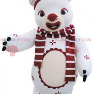 Maskot bílý a červený medvídek v zimním oblečení -