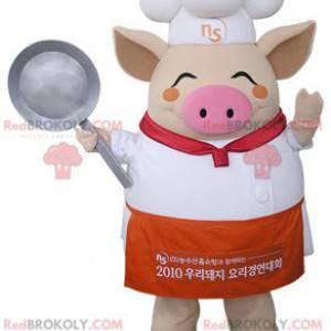 Beige pig mascot dressed as a chef - Redbrokoly.com