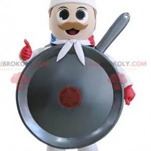 Chef cook giant pan mascot - Redbrokoly.com